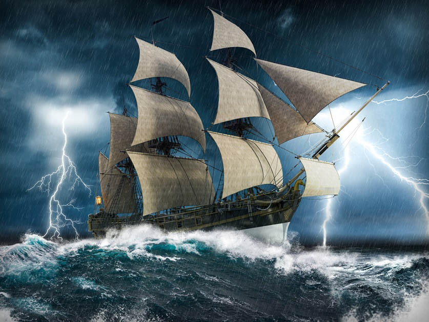 A ship on rough seas with lightning in the background.
